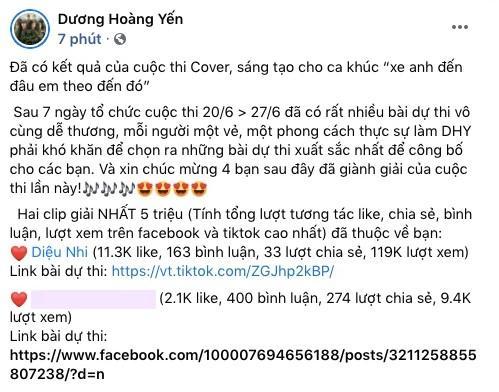Diệu Nhi giật giải nhất cuộc thi cover Dương Hoàng Yến