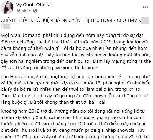 Vy Oanh khởi kiện Thu Hoài: Giúp người, người trả oán-2