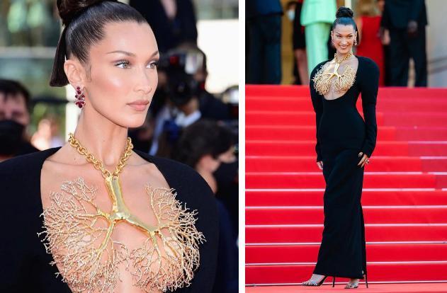 Bella Hadid 2 lần lộ hàng ở Cannes, lần nào cũng lộ ngay tam giác-1