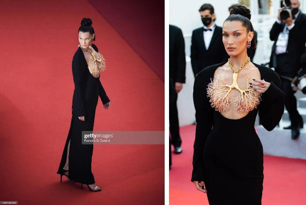 Bella Hadid 2 lần lộ hàng ở Cannes, lần nào cũng lộ ngay tam giác-2