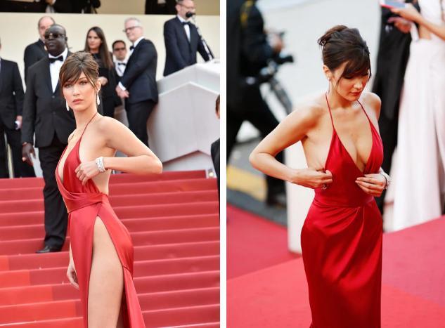 Bella Hadid 2 lần lộ hàng ở Cannes, lần nào cũng lộ ngay tam giác-4