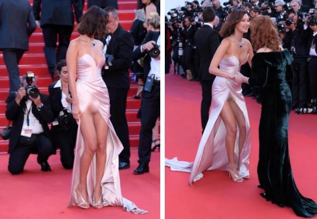 Bella Hadid 2 lần lộ hàng ở Cannes, lần nào cũng lộ ngay tam giác-7