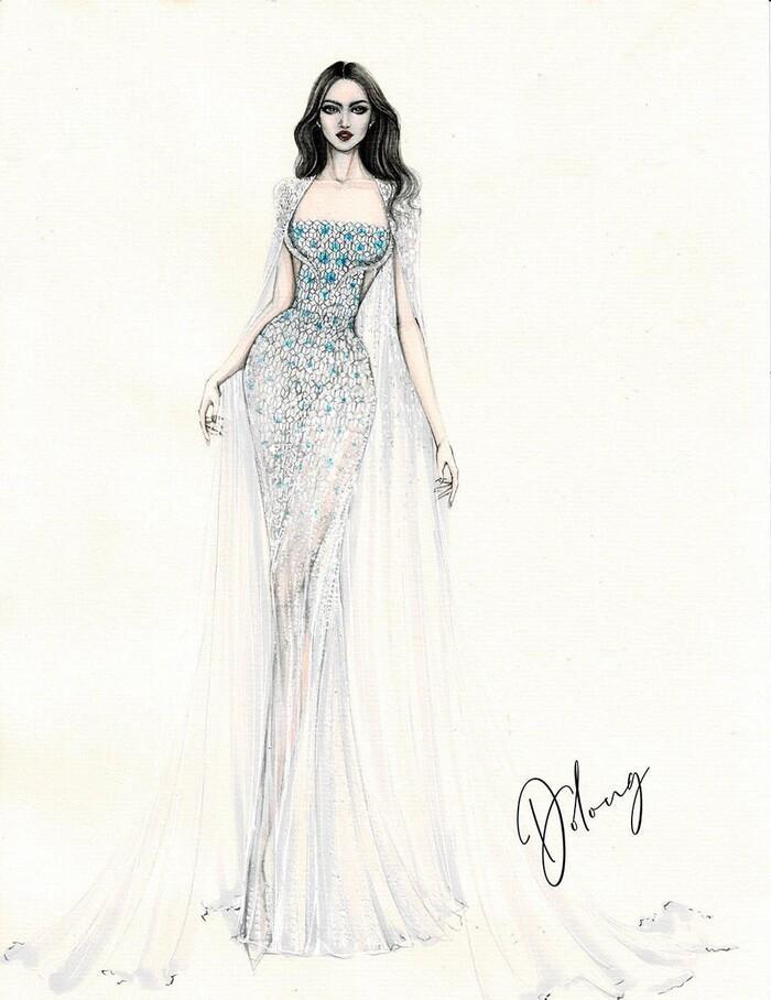 Sau Đỗ Thị Hà, Kim Duyên hé lộ váy dạ hội chinh chiến Miss Universe-2