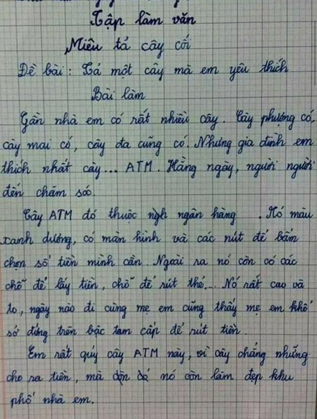 Nhóc lớp 3 làm văn tả cây cối, mẹ đọc xong chỉ muốn độn thổ-1