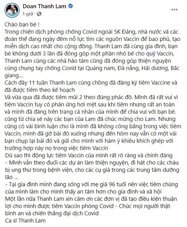 Thanh Lam làm rõ clip tiêm vaccine Covid-19 đang bị chỉ trích-4