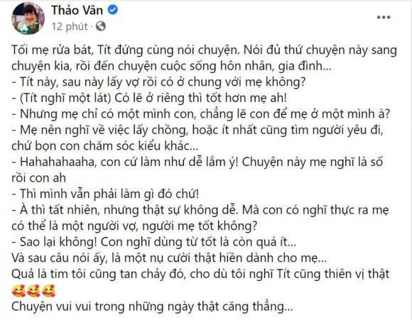 Con trai MC Thảo Vân khuyên mẹ lấy chồng với lý do xúc động-2