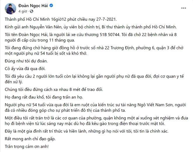 Quận 3 nói gì về ca tử vong ông Đoàn Ngọc Hải nhắc trên Facebook?-1