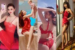 Hồ Ngọc Hà và loạt mỹ nhân diện đồ ngủ đỏ hóa 'gái hư'