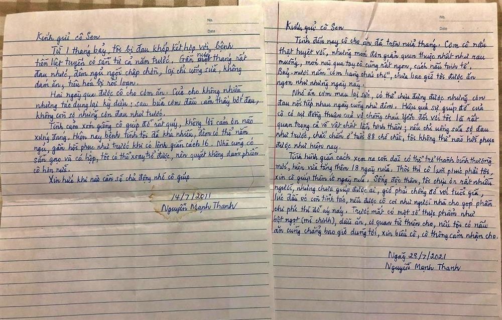 Bức thư cảm động của cụ ông gửi người hàng xóm nấu cơm cho mình-1