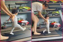 Con gái Cường Đô La được mẹ dìu chạy bộ giảm vòng eo