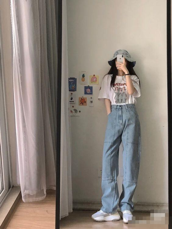 Mix đồ với quần ống rộng chuẩn style gái Hàn