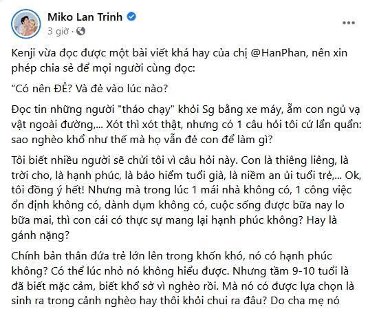 Tình chuyển giới của Miko Lan Trinh bị ném đá bài đăng sinh sản-1