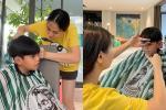 Cảnh Đàm Thu Trang tận tâm cắt tóc cho con riêng của chồng