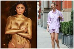 Style sao US-UK: Kylie Jenner dát vàng chụp nude, Bella Hadid diện áo 'bung nút'