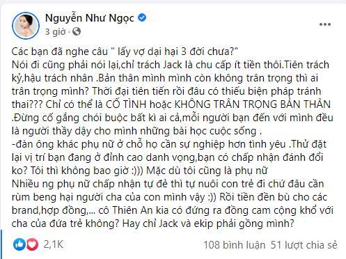 Hoa khôi Nguyễn Như Ngọc bênh Jack: Chọn nhầm vợ dại, hại 3 đời-2