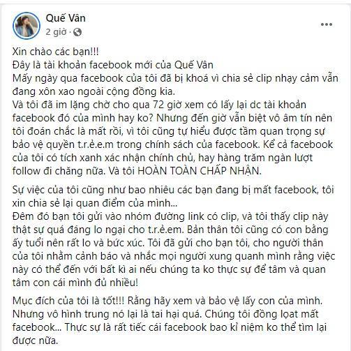 Quế Vân bay Facebook vì lan truyền clip 2 em bé