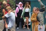 Justin Bieber ăn mặc 'trẩu tre' như 'mẹ và bé' khi sánh đôi cùng vợ