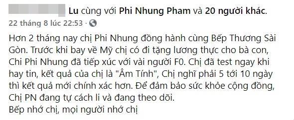 Sau tin đồn mắc Covid, Phi Nhung được xác nhận tiếp xúc vài F0-3