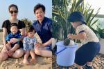 Cưng xỉu ảnh con trai Đặng Thu Thảo 1 tuổi làm vườn