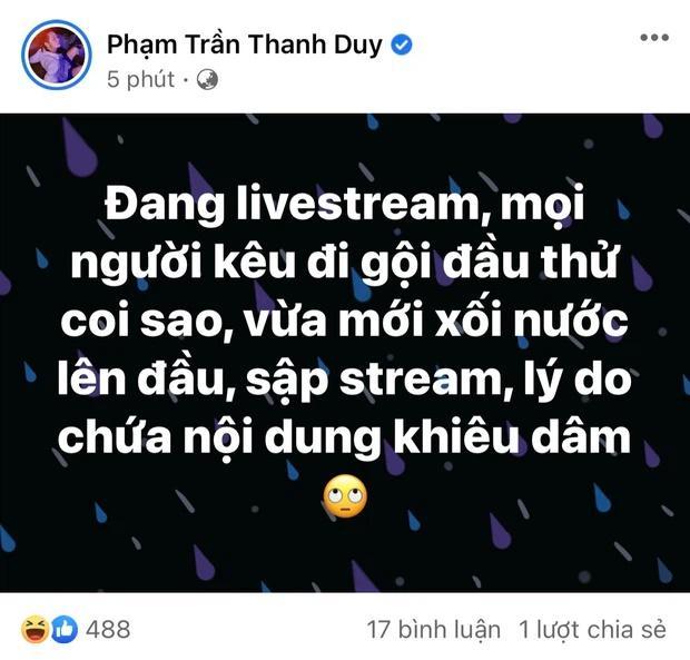 Thanh Duy bị cấm livestream vì hành động khiêu dâm?-1