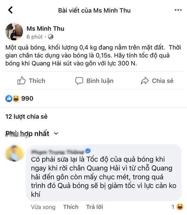 Ra đề Lý ăn theo bàn thắng Quang Hải, Minh Thu bị bóc sai kiến thức-1