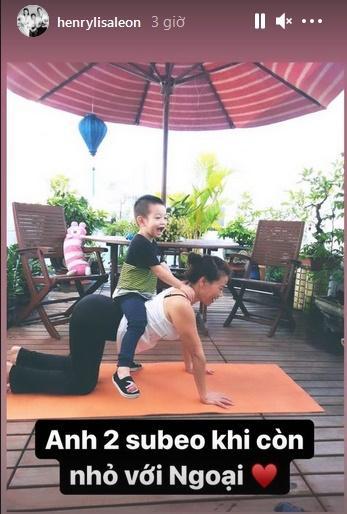 Mẹ Hà Hồ tập yoga, khoe body tuổi 64 bên 2 cháu Leon Subeo-3