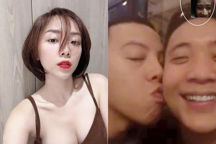 Phản ứng của Tóc Tiên khi chồng hôn trai trẻ