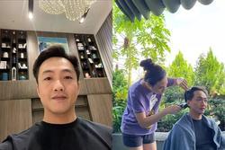 Đàm Thu Trang lại trổ tài cắt tóc cho chồng, tay nghề lên cao vút