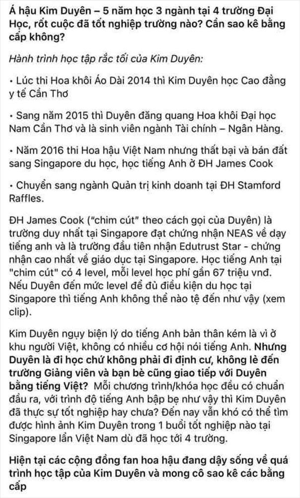 Á hậu Kim Duyên gây lú vì 5 năm học 4 trường, 3 chuyên ngành