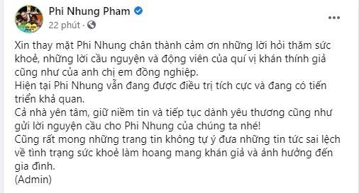 Ê-kíp Phi Nhung thông báo nữ ca sĩ đang tiến triển khả quan-1