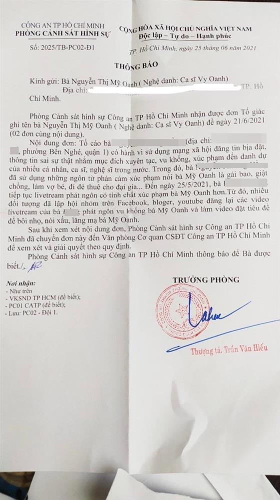 Vy Oanh công khai 2 thông báo tiếp nhận điều tra của công an-1