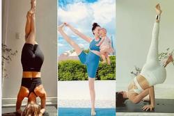Mẹ 3 con Hà Hồ tập yoga toàn tư thế khó nhằn mà đẹp bất chấp