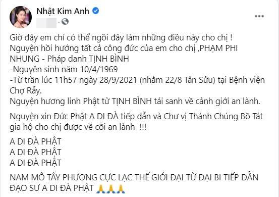 Nhật Kim Anh đáp trả lời mắng khoe tiền phúng điếu Phi Nhung