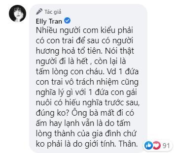 Phản đối đàn ông ép vợ sinh con trai, Elly Trần bị phản ứng-6