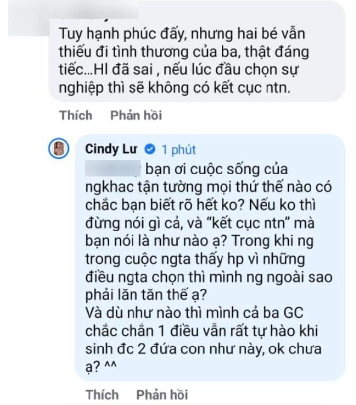 Cindy Lư nổi đóa bình luận Hoài Lâm có vợ con là sai-1