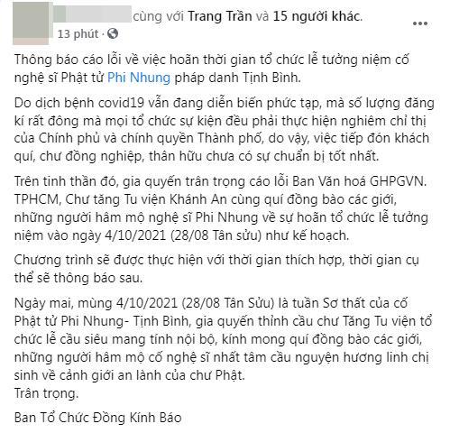 Hoãn lễ tưởng niệm cố ca sĩ Phi Nhung-1