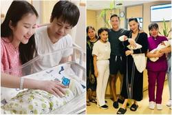 Phan Thành bù xù, Kim Lý đỏm dáng khi túc trực vợ sau sinh